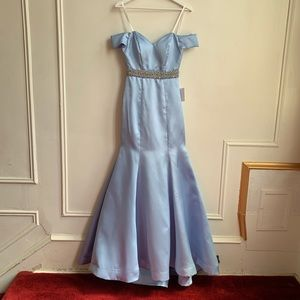Dresses & Skirts - Baby Blue Off Shoulder Mermaid Gown